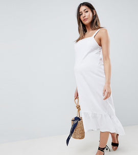 ASOS DESIGN Maternity square neck drop hem midi sundress - White