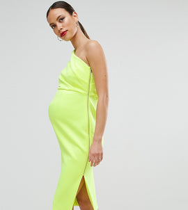 ASOS Maternity One Shoulder Scuba Deep Fold Midi Dress with Exposed Zip - Chartreuse