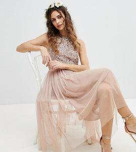 Maya Sleeveless Sequin Bodice Tulle Detail Midi Bridesmaid Dress With Cutout Back - Taupe blush
