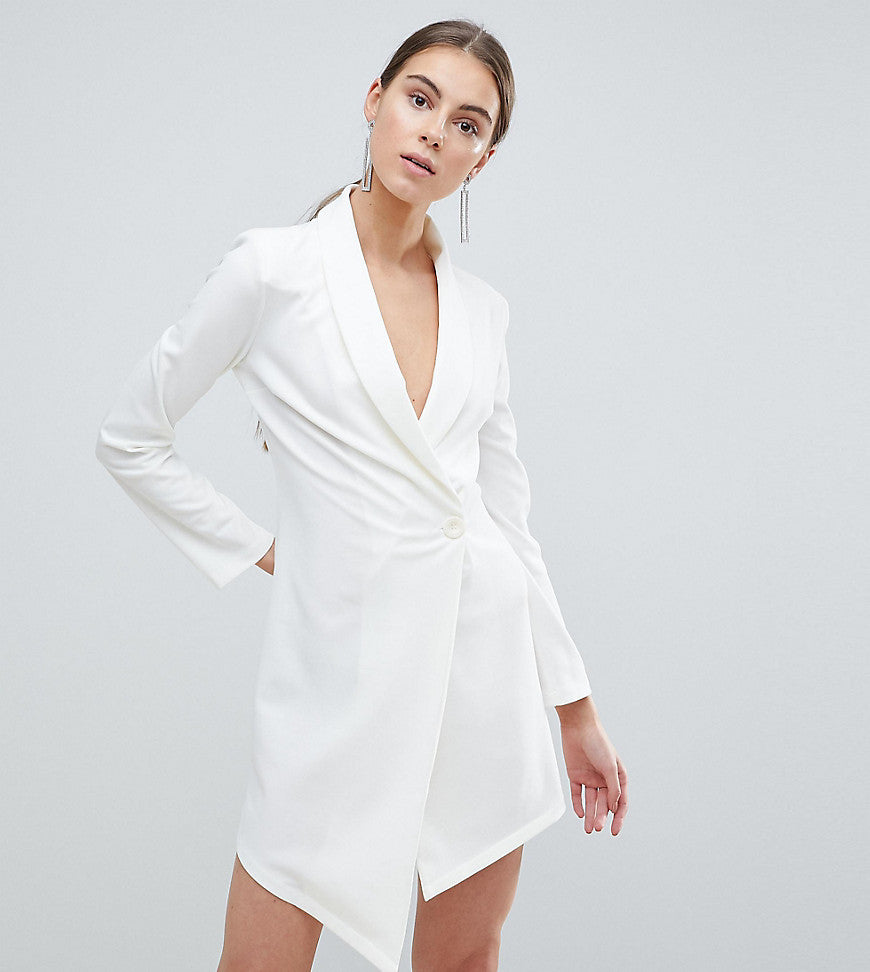 John Zack Tall Asymmetric Blazer Dress - White