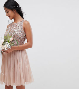 Maya Petite Sleeveless Sequin Bodice Tulle Detail Mini Bridesmaid Dress With Cutout Back - Taupe blush