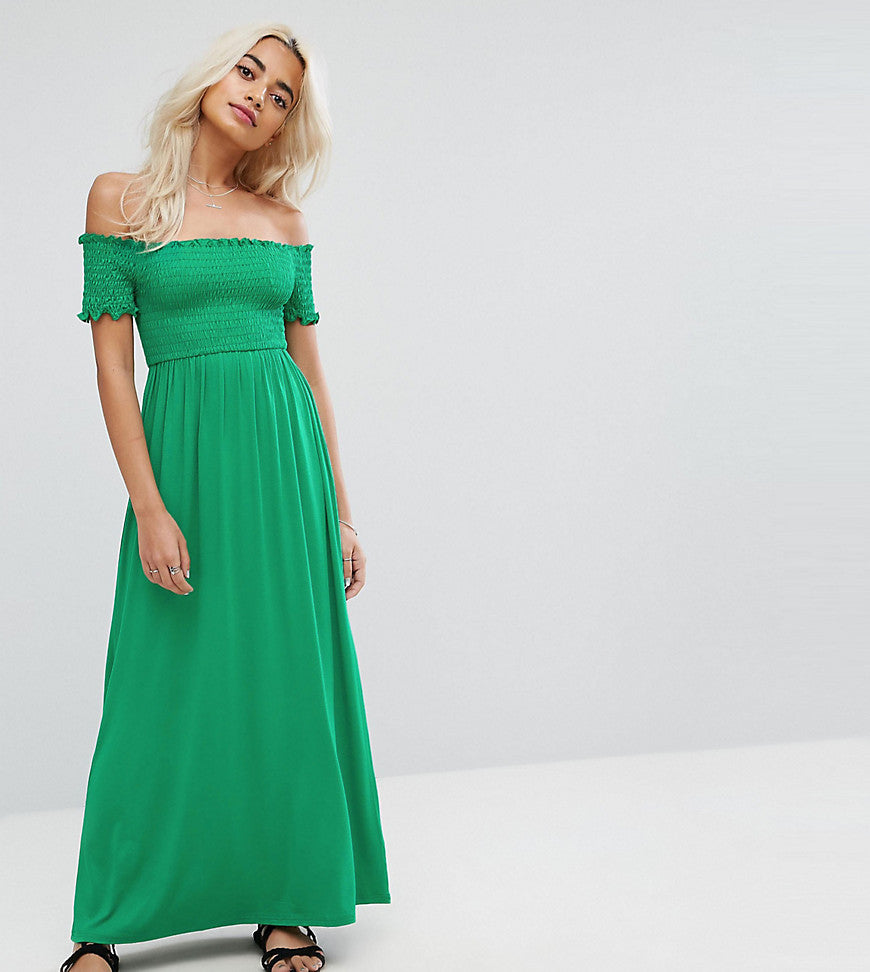 ASOS PETITE Off Shoulder Maxi Sundress with Shirring - Khaki