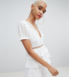 PrettyLittleThing Broderie Anglaise Tiered Dress - White