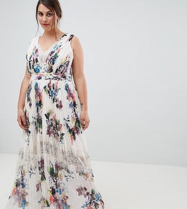 Little Mistress plus pleated maxi dress in floral print in cream multi - Cream/multi