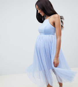 ASOS DESIGN maternity premium scuba pinny midi tulle dress - Powder blue
