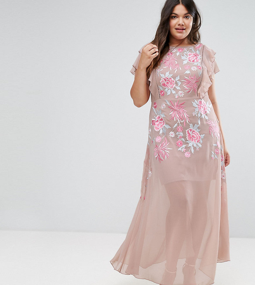Frock And Frill Plus Rose Embellished MAxi Dress With Ruffle Sleeve - Pink
