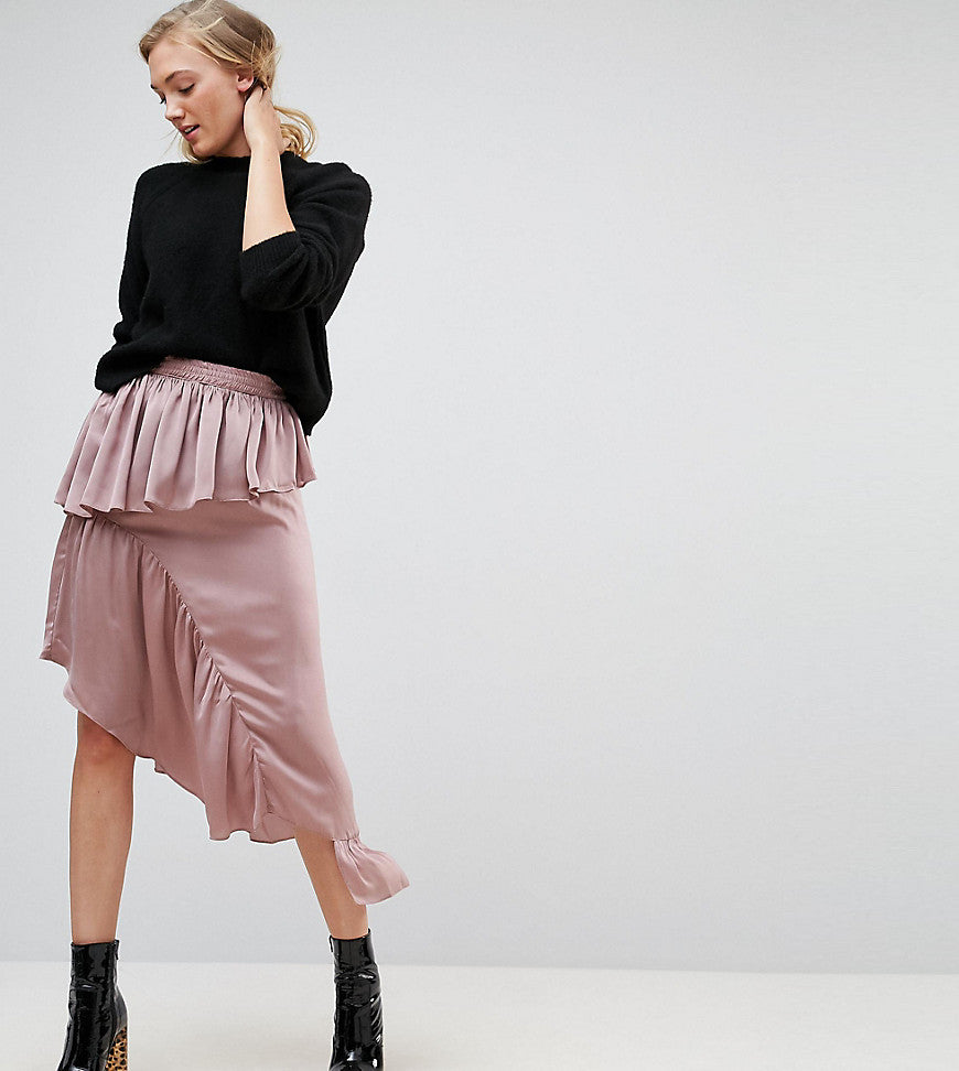 ASOS TALL Deconstructed Midi Skirt in Satin - Dusty mauve