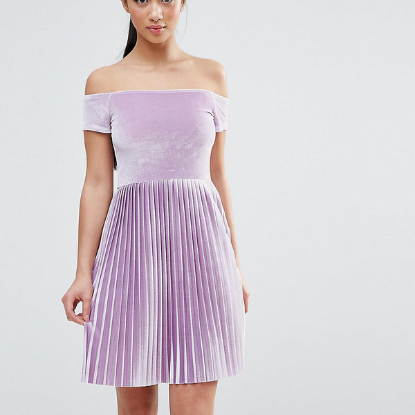 ASOS PETITE Velvet Off Shoulder Dress with Pleated Skirt - Lilac
