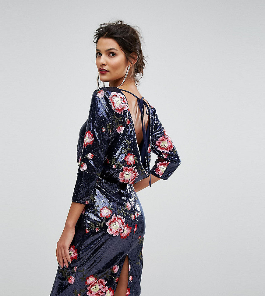 TFNC Sequin Midi Dress With Floral Embroidery And Cowl Back - Navy/ pink