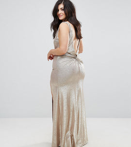 TFNC Plus High Neck Metallic Maxi Dress With Back Knot - Gold
