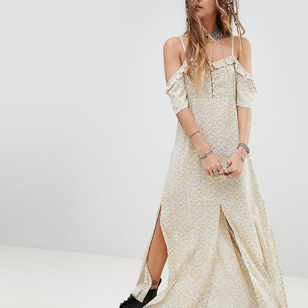 Sacred Hawk Off Shoulder Maxi Dress With Side Splits - Multi
