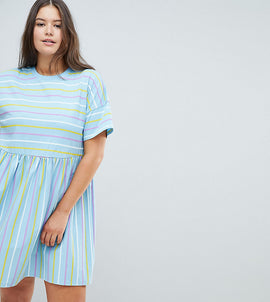 ASOS DESIGN Curve smock dress in cut about stripe - Multi