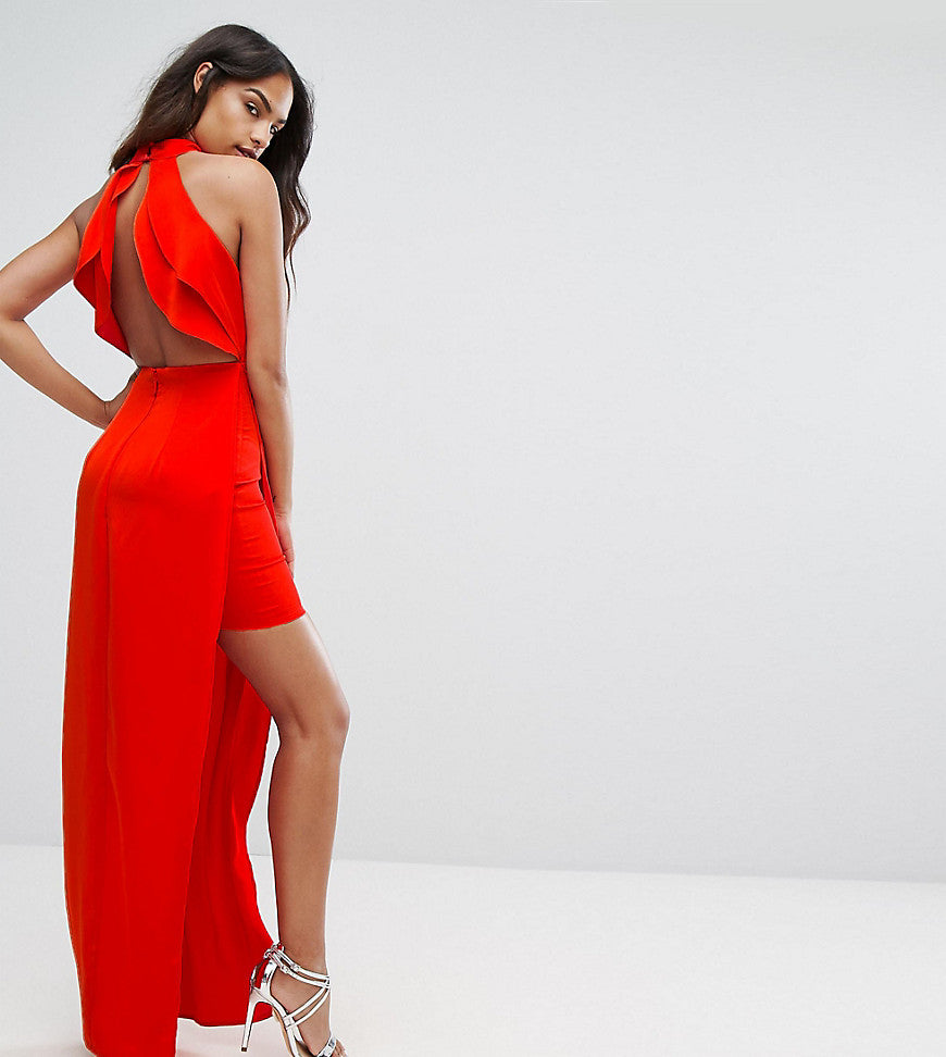 Bariano High Neck Maxi Dress With Open Back Detail - Red