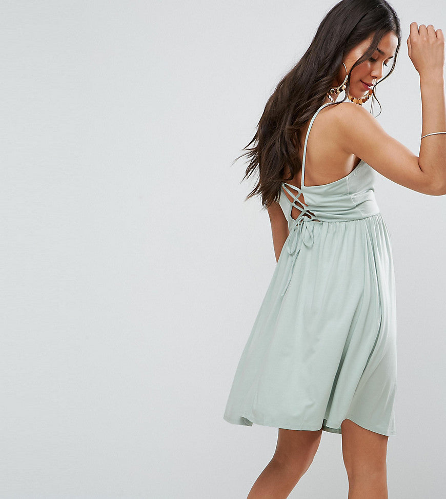 ASOS Maternity Lace Up Back 90s Skater Dress - Mint