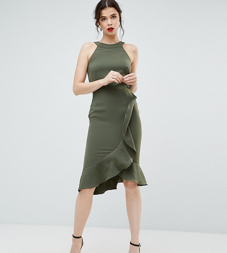 Paper Dolls Tall High Neck Midi Dress with Frill Detail - Forest green