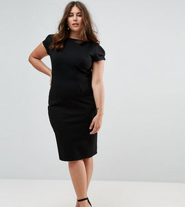 Closet London Plus Pencil Dress With Ruched Cap Sleeve - Black