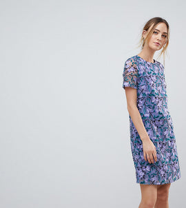 Dolly & Delicious Tall Allover Embroidered Aline Shift Dress - Purple multi