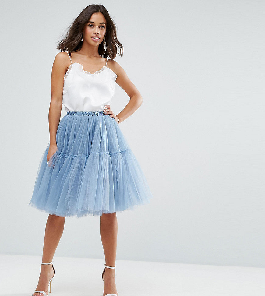 True Decadence Petite Tulle Skirt - Soft blue