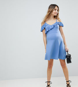 ASOS MATERNITY Cold Shoulder Skater Sundress with Ruffle - Pale blue