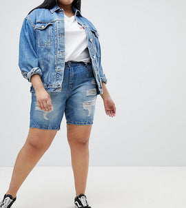 Zizzi Distressed Denim Short - Light blue denim