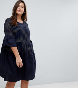Junarose Pinstripe Frill Skater Dress - Navy