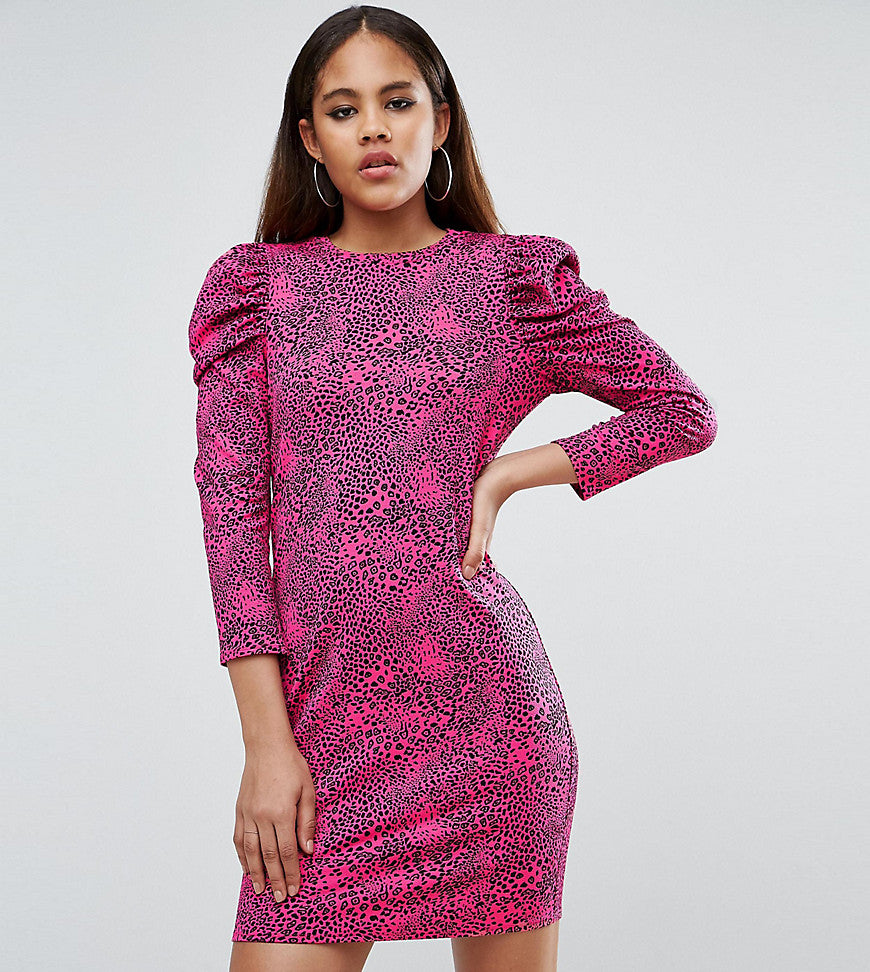 ASOS TALL Crepe Mini Dress With Puff Sleeves in Animal Print - Pink animal