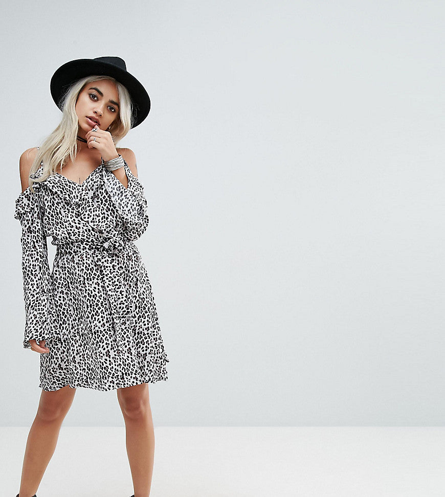 Sisters Of The Tribe Cold Shoulder Wrap Dress In Leopard - White