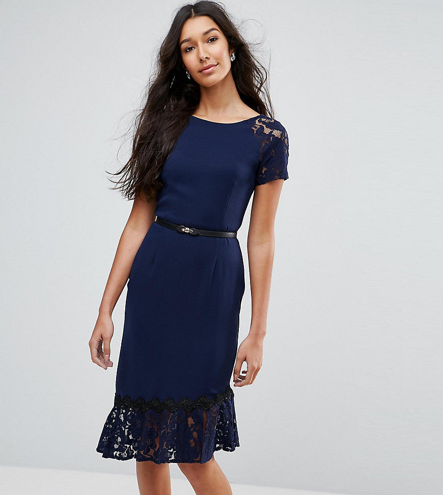 Paper Dolls Tall Short Sleeve Lace Dress with Crochet Trim - Navy