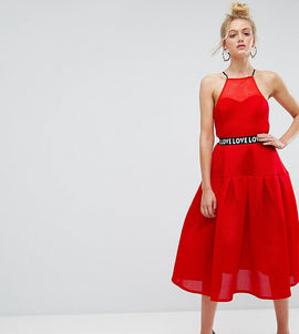 ASOS TALL Bonded Mesh Prom Midi Dress With Love Strap - Red