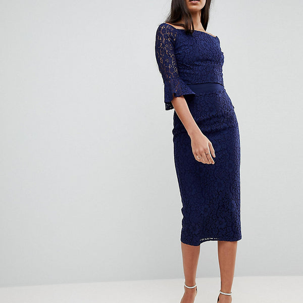 Little Mistress Tall All Over Lace Bardot Midi Dress With Fluted Sleeve Detail - Navy