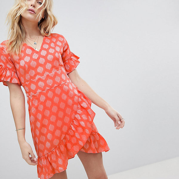 Glamorous Tall Mini Dress With Asymmetrical Frill Hem And Tie Waist In Jacquard - Light coral damask