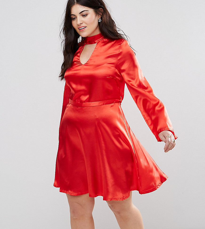 Club L Plus Satin Choker Skater Dress - Red