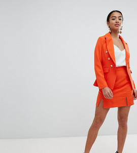 Missguided Petite Split Detail Skirt - Orange