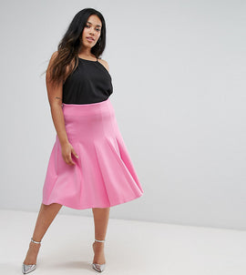 ASOS CURVE Prom Skirt with High Waist in Scuba - Pink