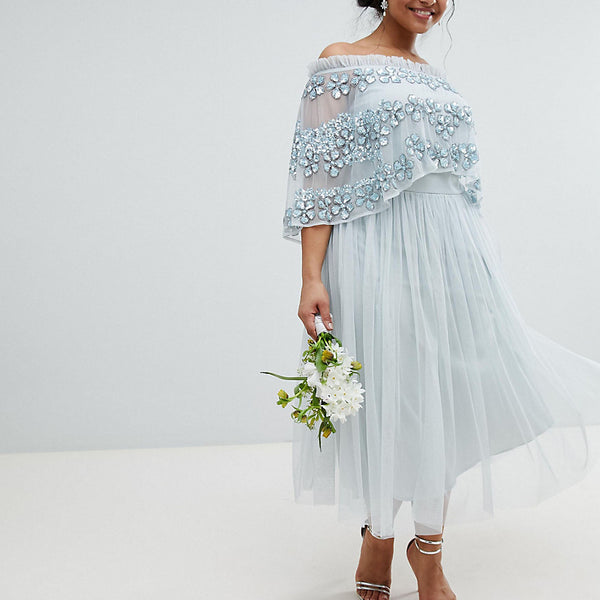 Maya Plus Embellished Bardot Layered Midaxi Dress - Ice blue