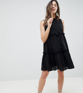 ASOS Maternity ULTIMATE Sleeveless Broderie Trapeze Dress - Black