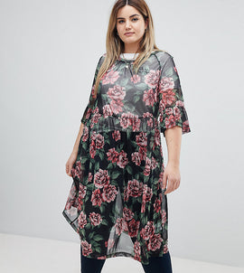 Zizzi Floral Print Mesh Midi Dress - Black combo