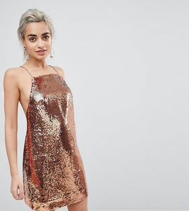 ASOS PETITE Embellished Sequin Cami Mini Dress - Rose gold