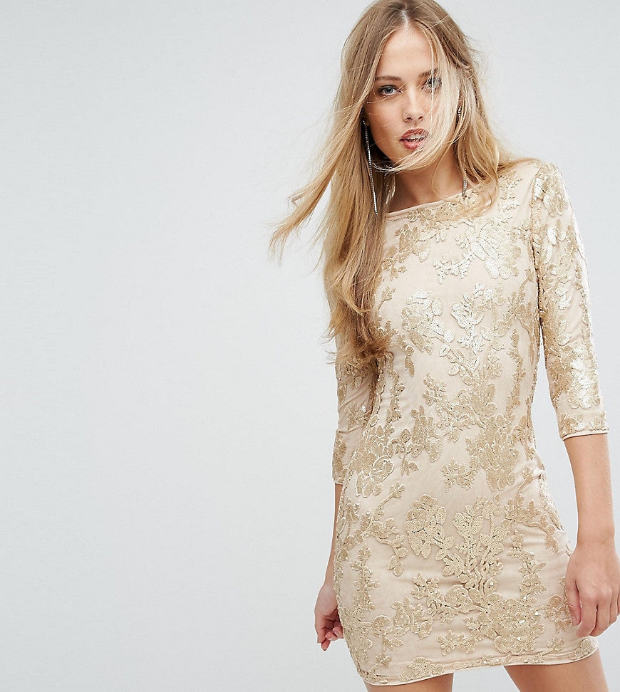 TFNC Mini 3/4 Length Sleeve Sequin Dress - Gold