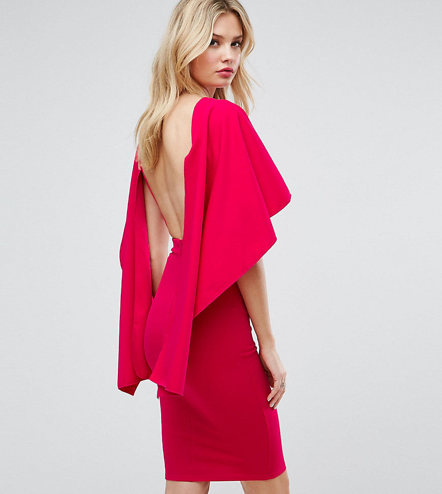 City Goddess tall Midi Dress With Ruffle Sleeve - Cerise (77)