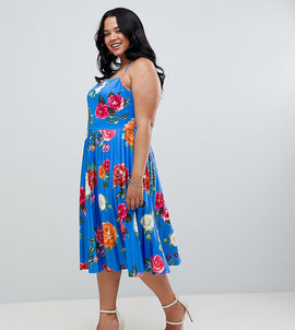 ASOS DESIGN Curve scuba floral cami pleated midi prom dress - Multi