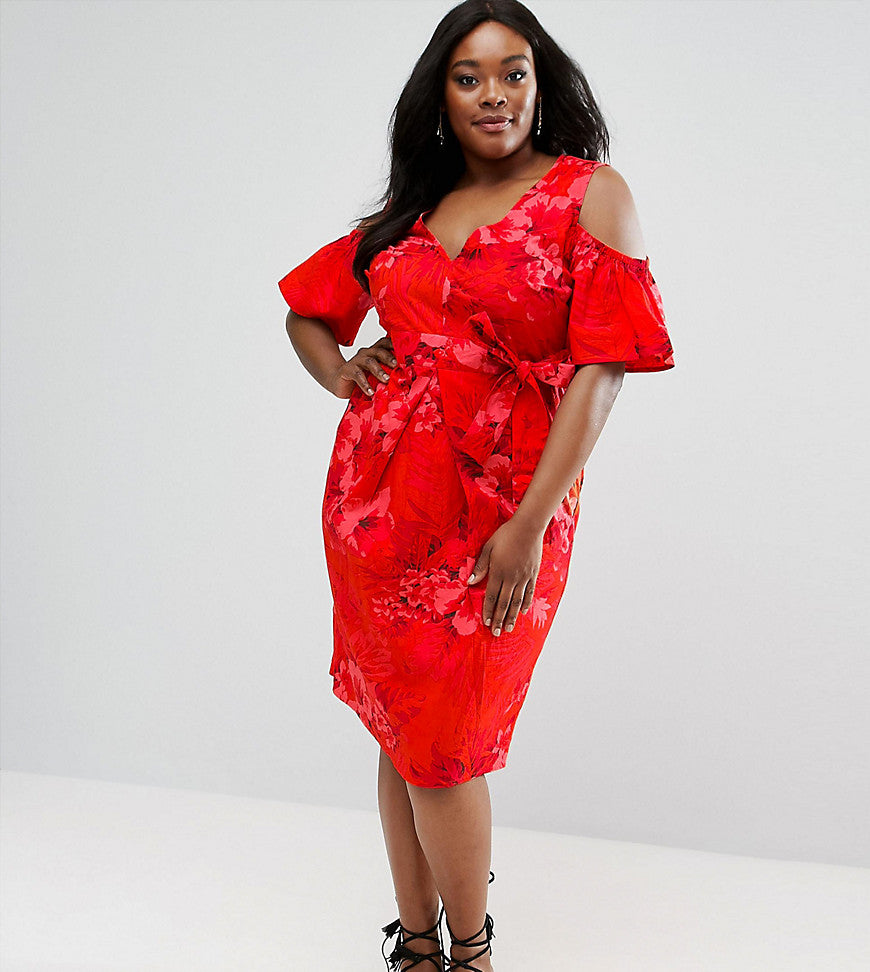 ASOS CURVE Midi Dress In Tropical Print with Tie Front and Cold Shoulder - Red multi