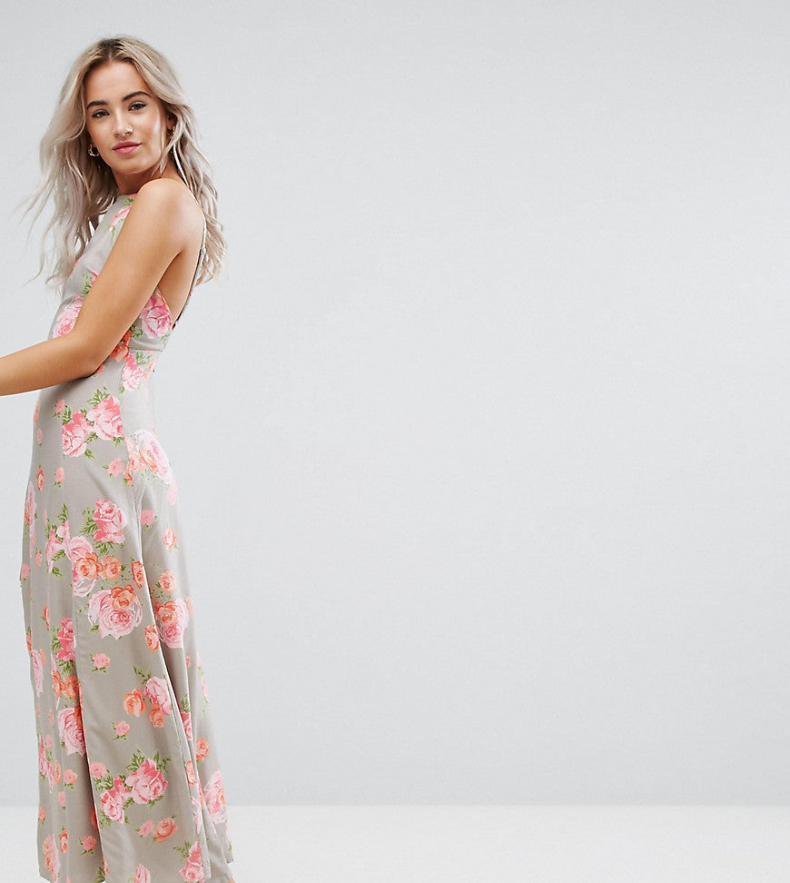ASOS PETITE Open Back Maxi Dress In Pretty Floral - Multi