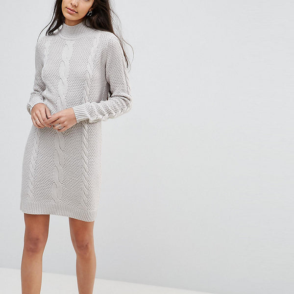 Brave Soul Tall Cable Knit Jumper Dress - Cloud grey