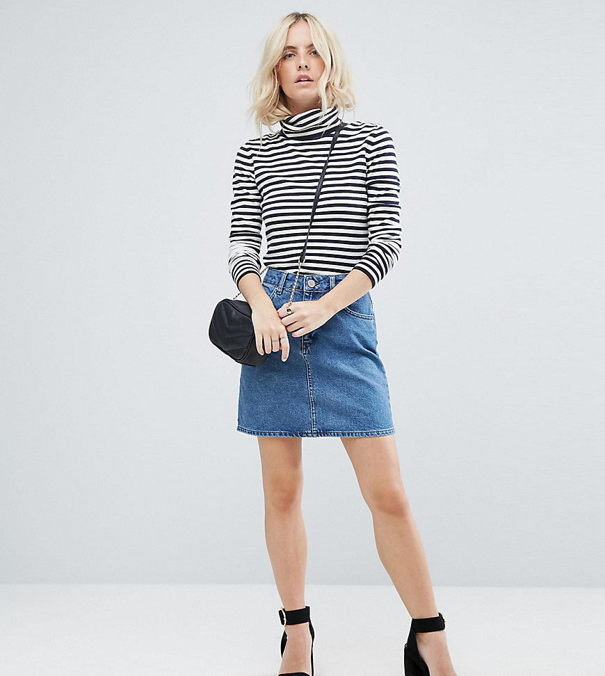 ASOS PETITE Denim Original High Waisted Skirt in Midwash Blue - Midwash blue