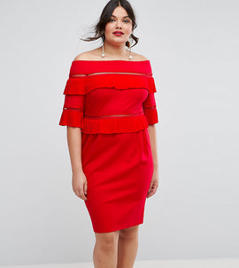 ASOS CURVE Pleat & Ruffle Off Shoulder Dress - Red