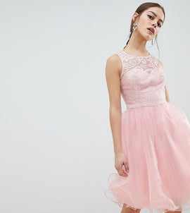 Chi Chi London Petite Midi Tulle Prom Dress with Premium Lace Bodice - Pastel pink