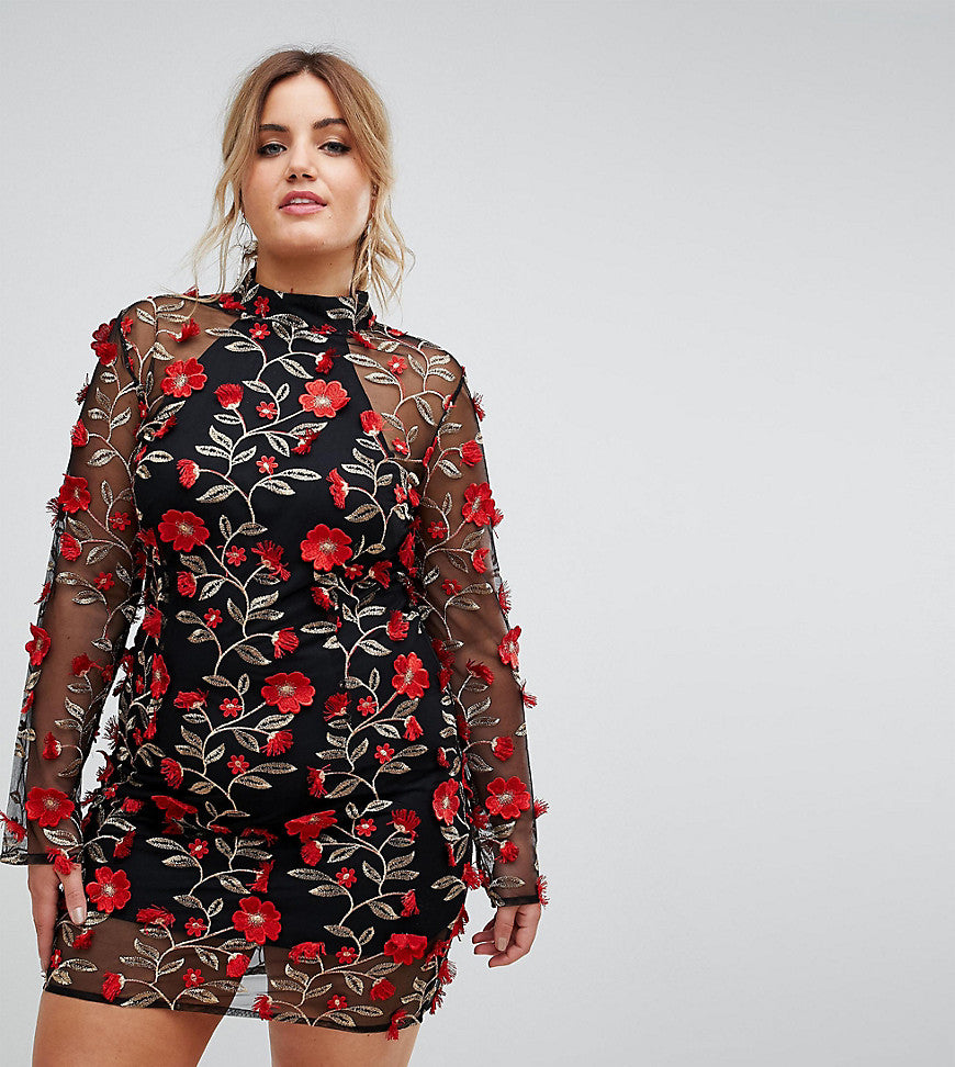 Club L Plus High Neck Red Rose Embroidered Dress - Black red