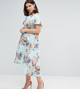 ASOS CURVE Deep Bardot Scuba Bright Floral Dip Back Midi Dress - Bright floral