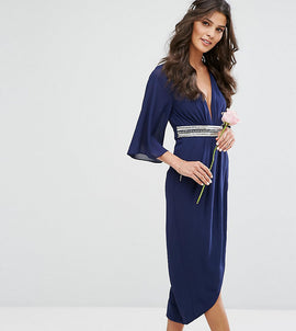 TFNC WEDDING Kimono Sleeve Midi Dress with Wrap Skirt - Navy